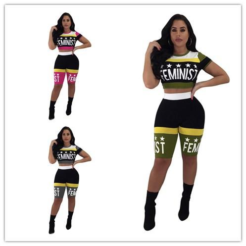 Women Sexy Tracksuit 2019 Summer Stars Printing Expose Navel Short T-shirt+shorts Two Pieces Sportswear suit Nightclub Clothing News K8616