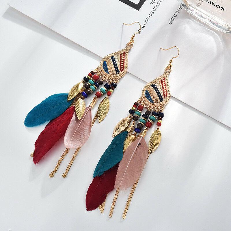 Cuelga los pendientes de Boho Fringe mujeres moda bohemia pendientes de la vendimia borla larga