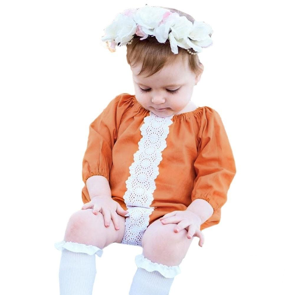 good quality Newborn Baby rompers Girls Patchwork Lace Romper Outfits Clothes roupa de menina children's clothing