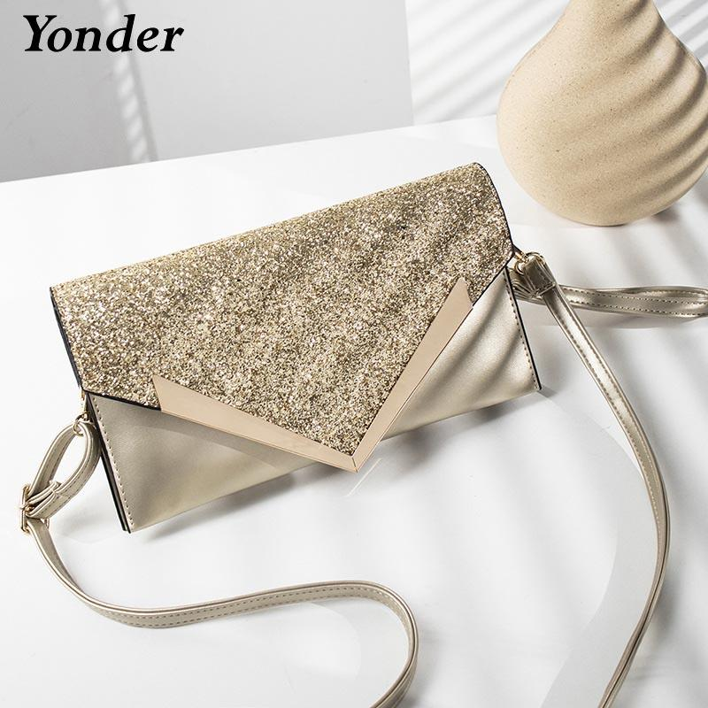 Yonder women bag Party Wedding ladies clutch bag women evening small messenger shoulder bag purses and handbags gold black/Pink
