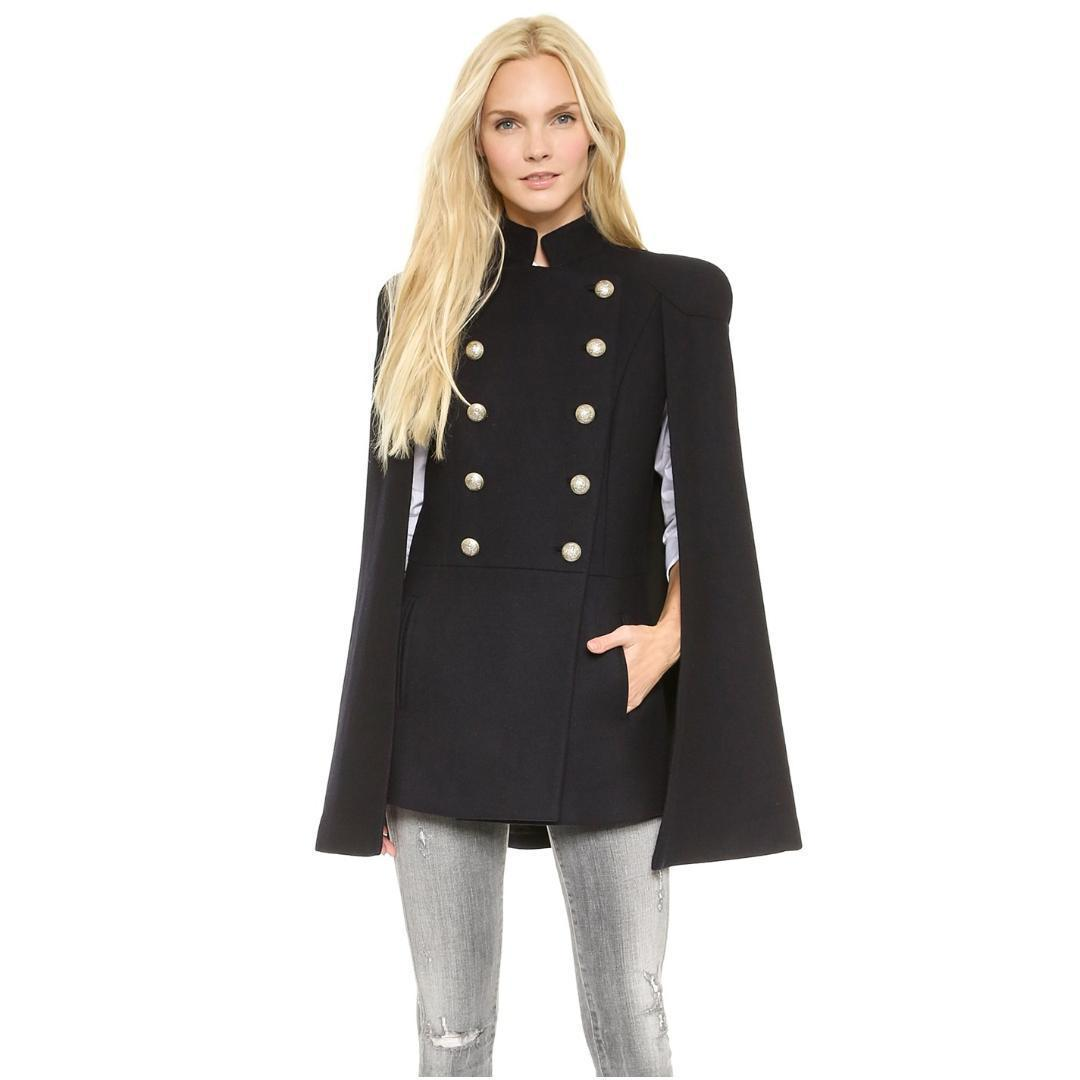 9a27e150db2f 2019 Winter Women Double Breasted Woolen Coats Casual Loose Overcoat Long  Sleeve Cloak Coat Jacket Batwing Poncho Capes From Tallahassed9