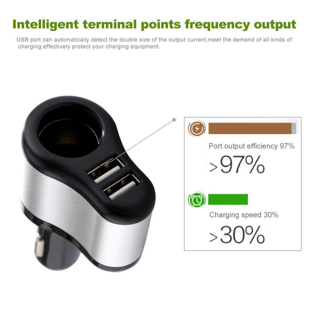 12V-24V Car Cigarette Lighter Socket Splitter Plug Dual USB Charger Adapter 1A+2.1A for iPhone samsung For bmw peugeot passat VW