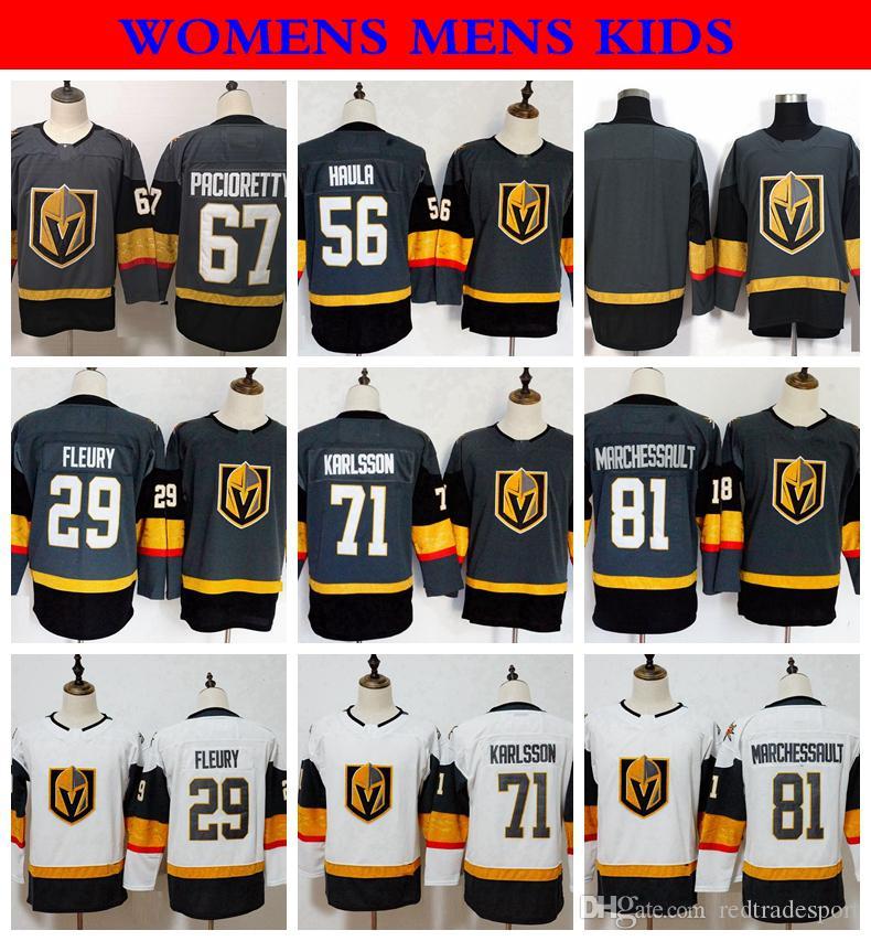 purchase cheap e2b65 f4851 2018 Womens Vegas Golden Knights 29 Marc-Andre Fleury 71 Karlsson 88  Schmidt 67 Max Pacioretty 56 Erik Haula 81 Marchessault Hockey Jerseys