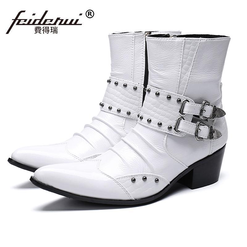 cef3dff8 Compre Nueva Moda De Metal Con Punta Hombre Calzado Punta Estrecha Tacón  Alto Punk Rocker Zapatos De Cuero Genuino De Los Hombres Botines De  Motocicleta ...