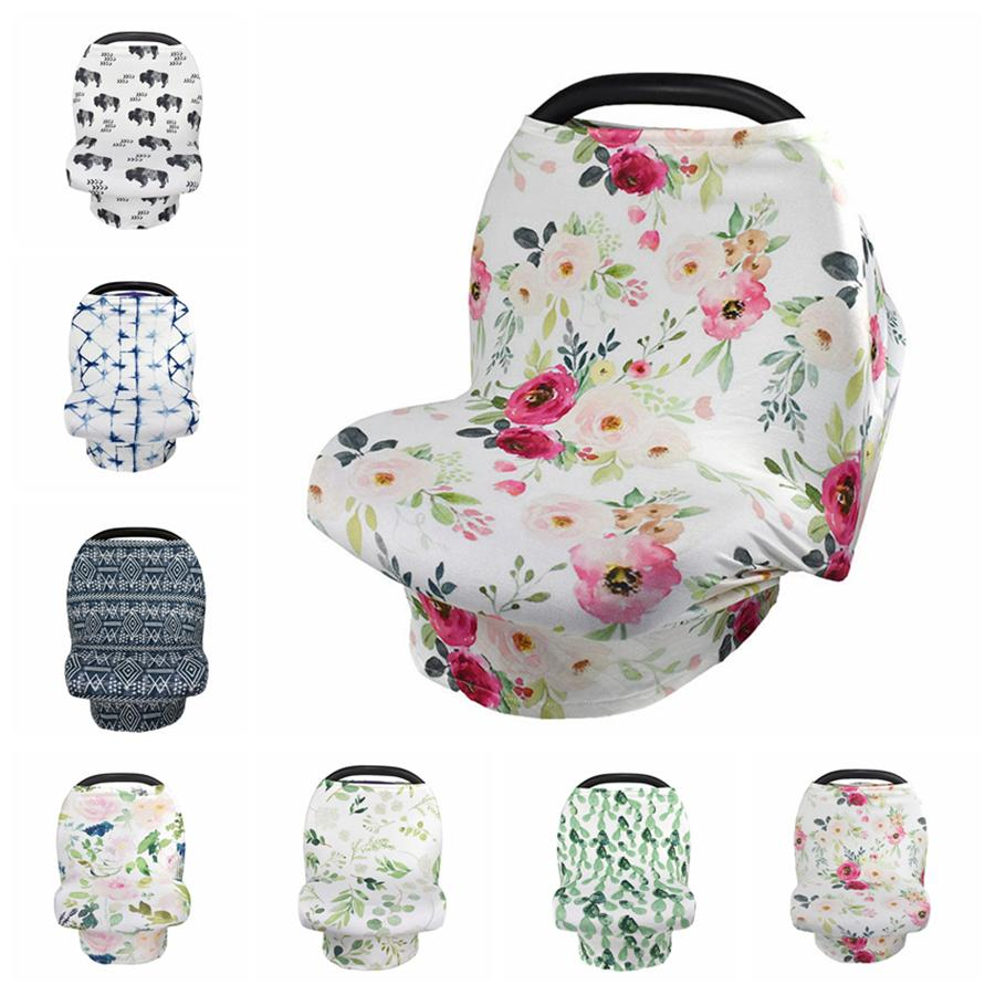 Stretchy Car Seat Cover Baby Carseat Canopy Privacy Nursing Cover Breastfeeding Cover Shopping Cart Grocery Trolley Covers RRA1598