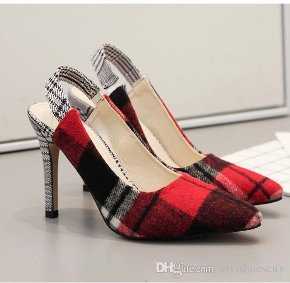 2019 college wind red grid back strap high heel women designer shoes size 34 to 40