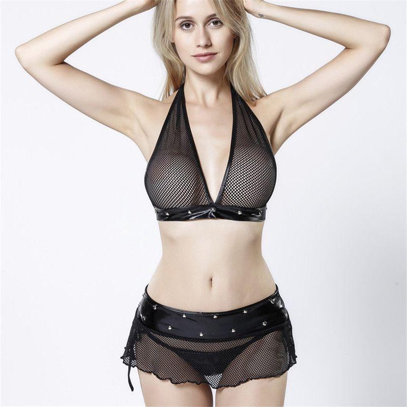 1729640354d 2019 Plus Size Women Sexy Bra Set Underwear Intimates Ladies Sexy Lingerie  Set G String Lace Sleepwear Women Sets Three Point Temptation From Cnkk