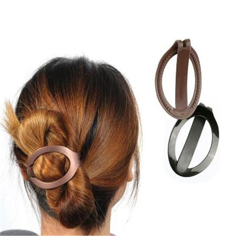 trasporto libero 1pc delle ragazze delle donne plastica molli clip di capelli Bun Maker Barrette Styling Tool Accessori per capelli nuovi di modo nero / marrone
