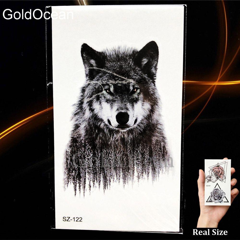 Schwarz Wilder böser Wolf Temporäre Tätowierung Aufkleber Körperkunst Zeichnung Tattoo Frauen Geometrische Mond Gefälschte Tatoos Männer Pfeil Fuchs Mond