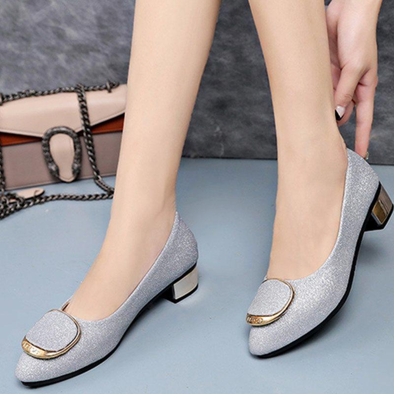 Dress Women Pumps Sequin Buckle Low Heels Office Lady Comfort Middle Heels  Glitter Soft Faux Leather Pointe Block Heels Career Shoes Women Shoes Boots  For ... 94d2d3fefb