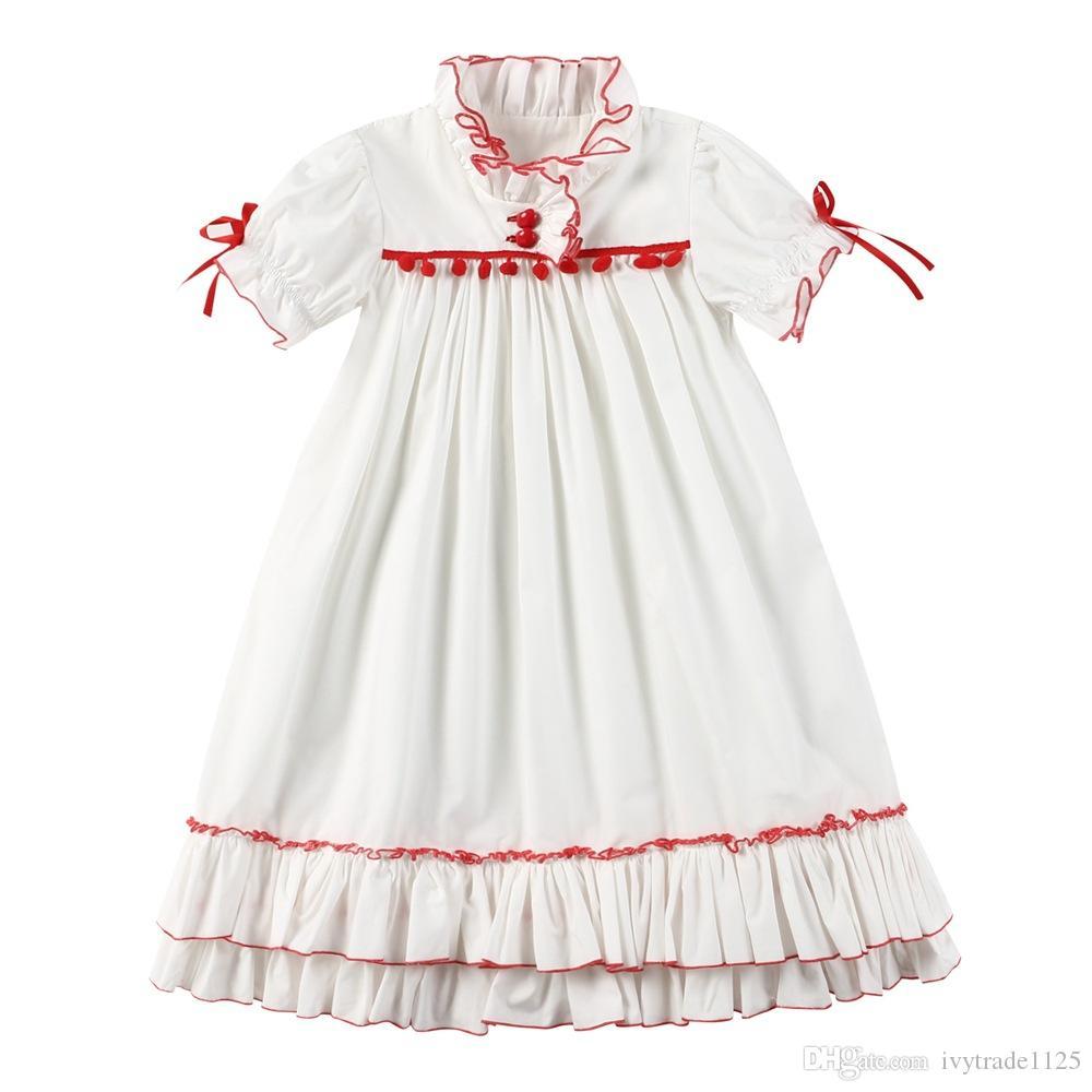 1ee2a61a1e601 Satın Al Nefis Kız Çocuk Giyim Yaz Kız Kısa Kolsuz Standı Yaka Beyaz  Ruffles Elbise Yüksek Kalite% 100% Pamuk Bebek Prenses Elbise, $11.9 |  DHgate.Com'da
