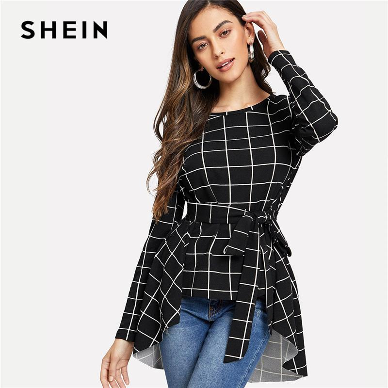 32be5fd8bd8 2019 SHEIN Black Workwear Casual Self Belted Asymmetrical Hem Round Neck  Long Sleeve Blouse Autumn Office Lady Women Tops And Blouses From  Feiyancao