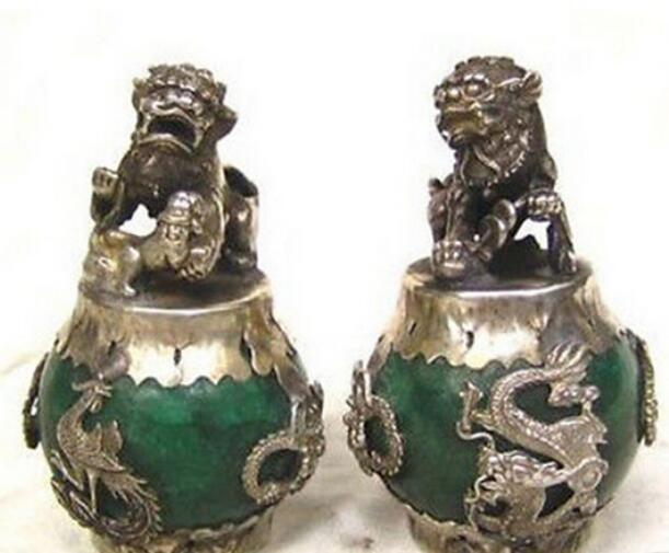 NEW ++ +HANDWORK tibet silver Green Jade Carving Figures Dragon Phoenix lion foo dog Statue