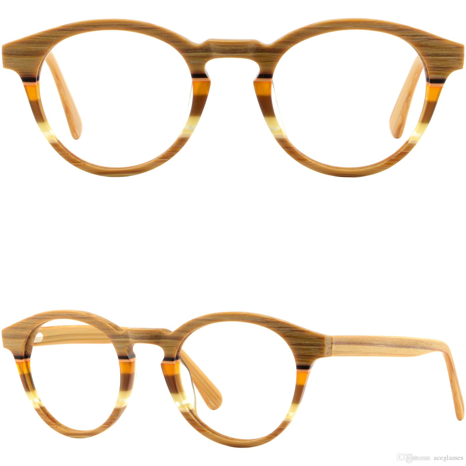 cdd030f9798 Retro Vintage Round Acetate Frames Plastic Eyeglasses Faux Wood Texture Glasses  Frames For Eyeglasses Glasses Frame Repair From Aceglasses