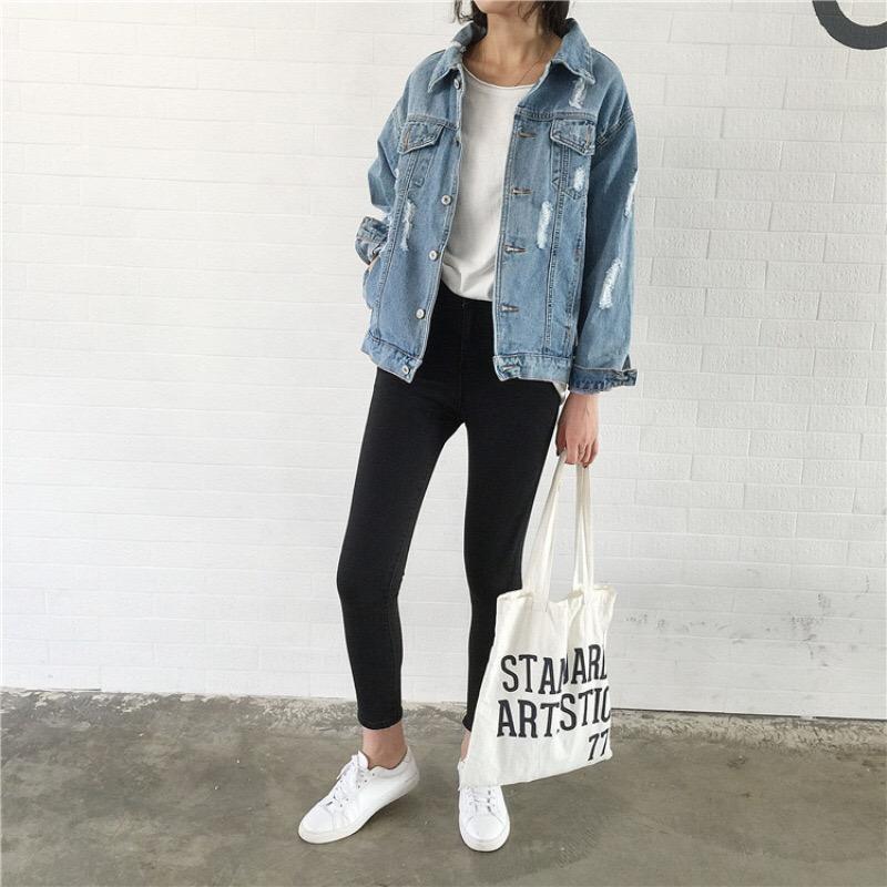 sale retailer 63bda 33ff0 2019 Cappotti e giacche basic da donna Giacca in jeans da donna Giacca da  jeans vintage Vestibilità ampia Giacca a vento casual Abbigliamento ...