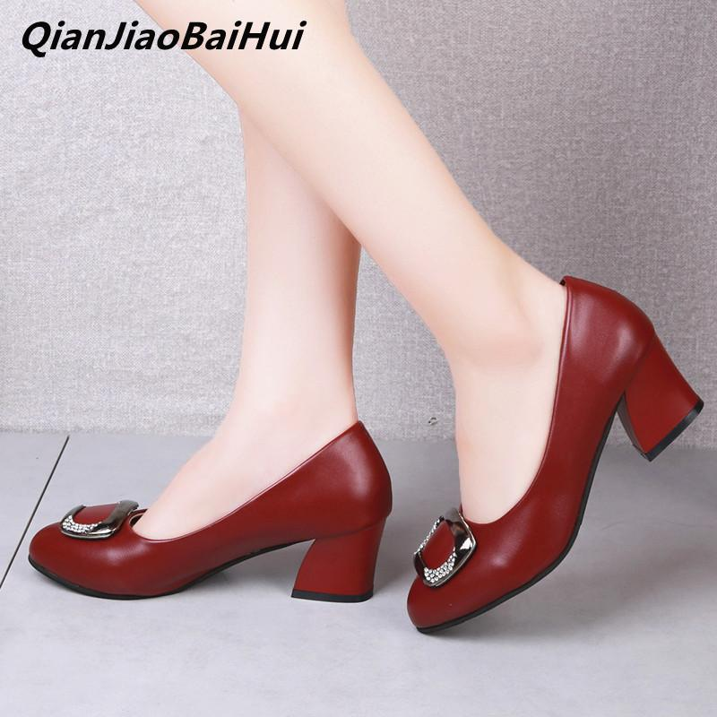 2af23b222128 Dress Qianjiaobaihui Small Round Toe Ladies Pumps Mature Square Heel Daily  Shoes Womens Work High Heels Classic Pump Discount Shoes Boat Shoes Shoes  For Men ...