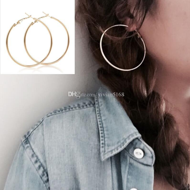 d377a9129 30-100MM Big Hoop Earrings Sexy Earrings Accessories Fashion Exaggerated  Hoop Ear Loop Smooth Circle for Women Girl's Jewelry gift
