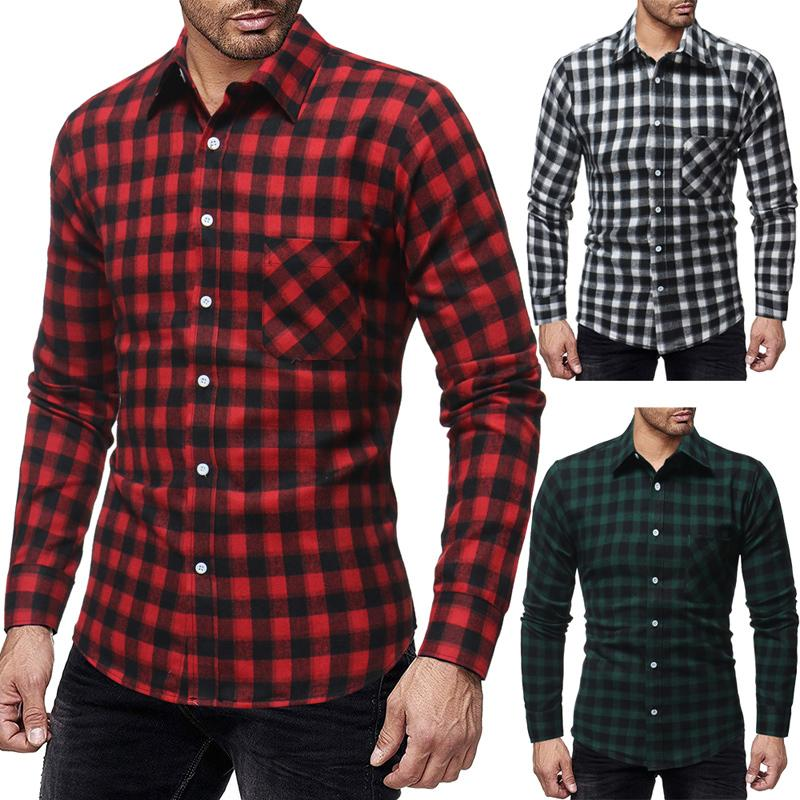 Men Plaid Shirt Long Sleeve Tops 2018 Fashion Korean Wild Slim Fit Casual Flannel Shirt Plus Size Men Clothes Red