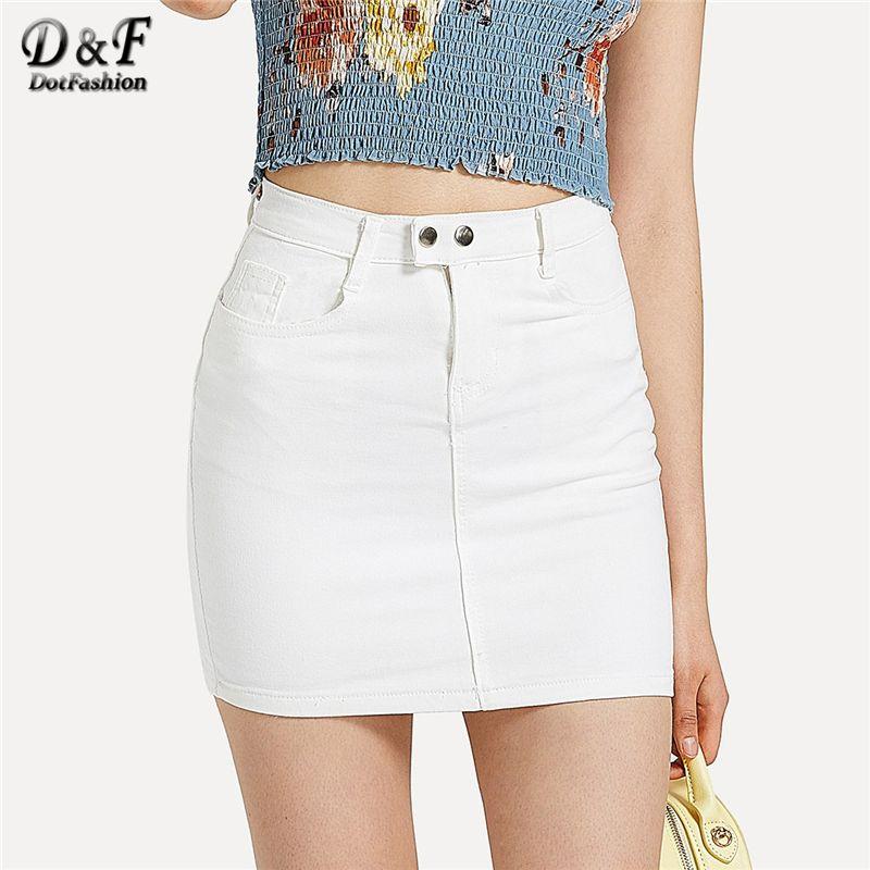e47f43628e7a44 Dotfashion Blanc Solide De Base Skinny Denim Jupe Femmes 2019 Casual Summer  Streetwear Style Coréen Dames Taille Haute Mini Jupe