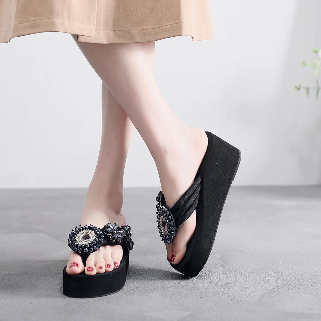 60e88e5d Mujer Cuñas Zapatillas Medio tacones 6 cm Plataforma Zapatilla Verano  Cristal Bling Chicas Sólido Chanclas de cristal Zapatos de playa al aire  libre