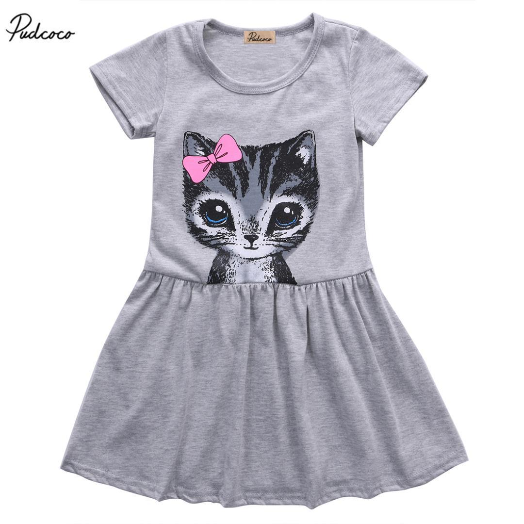f25618223480e 2017 Cute Cat Lovely Toddler Baby Girls Princess Short Sleeve Dress Party  Kids Tulle Tutu Dress Gray
