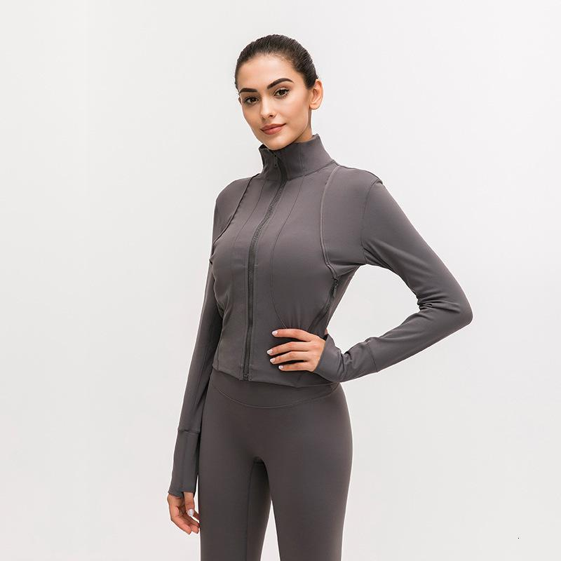LU-91 Front zipper Splice Running Jacket Women Sport coat Long Sleeve Yoga Jacket Elastic Slim Yoga Top Women Sport Shirt