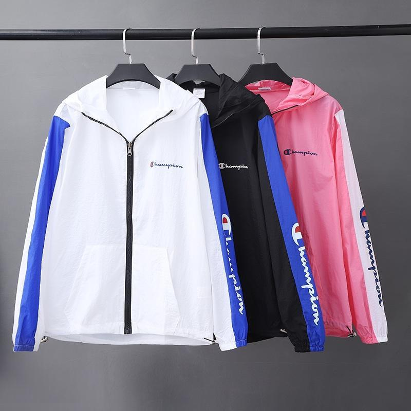fcf122b3f1a0 2019 Summer Women Men Champions Sun Protection Clothing Long Sleeve Zipper  Hoodie Coat Quick Dry Outdoor Sport Breathable Jacket Top A41304 From ...