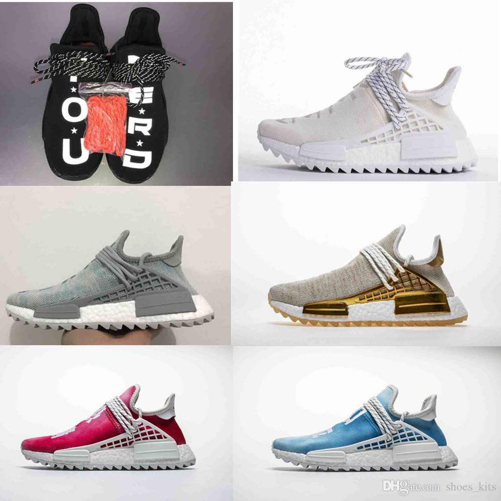 11e46db45 2019 Human Race Running Shoes Pharrell Williams Hu Trail Oreo Nobel Black  Nerd Designer Sneakers Men Women Sport Shoes Walking Shoes Trail Running  Shoes ...