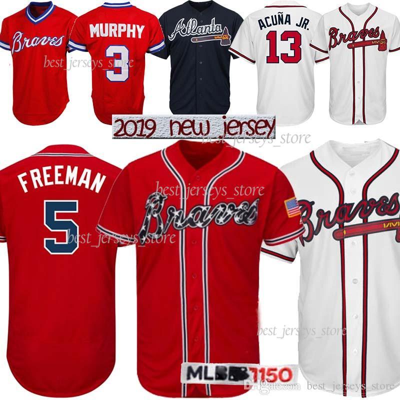 new arrival 1814d df56e 3 Dale Murphy Atlanta jerseys Braves 13 Ronald Acuña Jr. 5 Freddie Freeman  10 Chipper Jones Top MEN Baseball jersey 2019