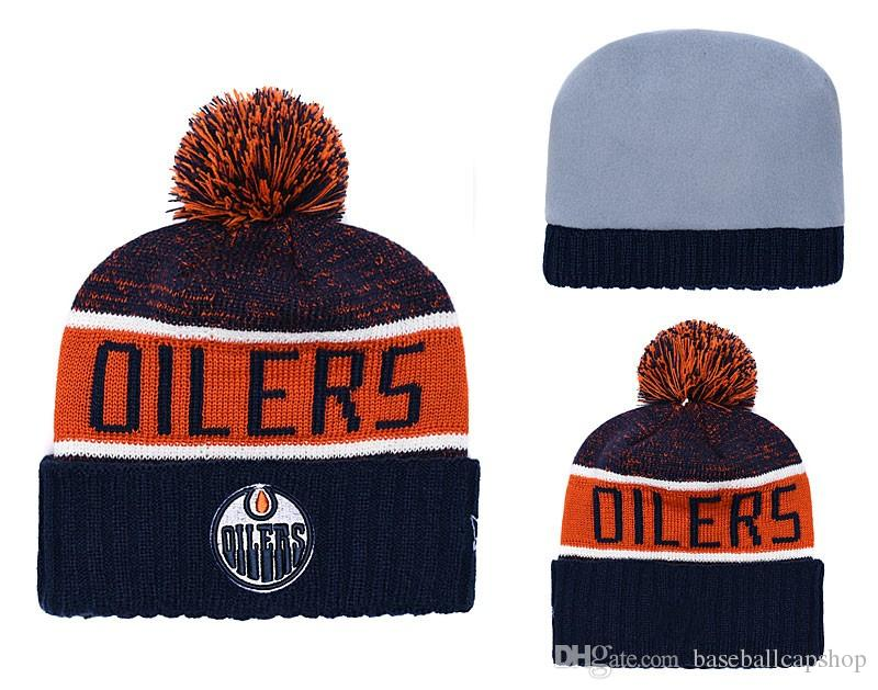 e5d01d35285 NEW Men S Edmonton Orange Blue Knitted Cuffed Pom Beanie Hats Striped  Sideline Hockey Team Beanie Cap Men Women Bonnet Beanies Skull Hat Knitted  Hats Knit ...