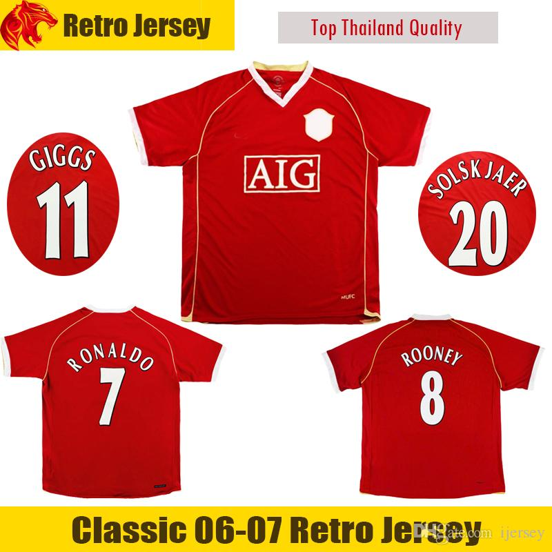 263e0f624 2019 2006 07 Retro Man UTD Soccer Jersey ROONEY Football Shirt Classic  Retro RONALDO Soccer Shirt SOLSKJAER United GIGGS Jersey From Ijersey