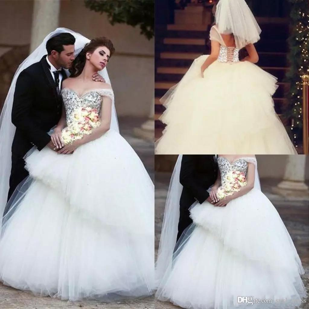 2020 Dubai Arabic Plus Size Bling Bling Ball Gown Wedding Dresses