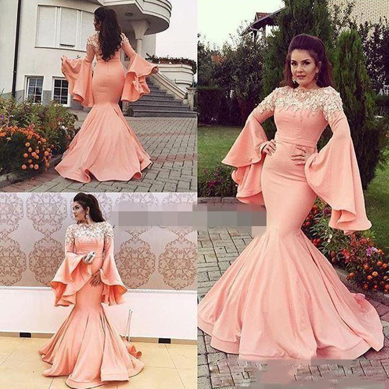 7e5f7c7eb28 Bell Sleeve Prom Dresses Mermaid Flare Sleeve 3D Lace Flowers Evening Gowns  Trumpet Cocktail Party Ball Red Carpet Dress Formal Gown Off The Shoulder  Prom ...