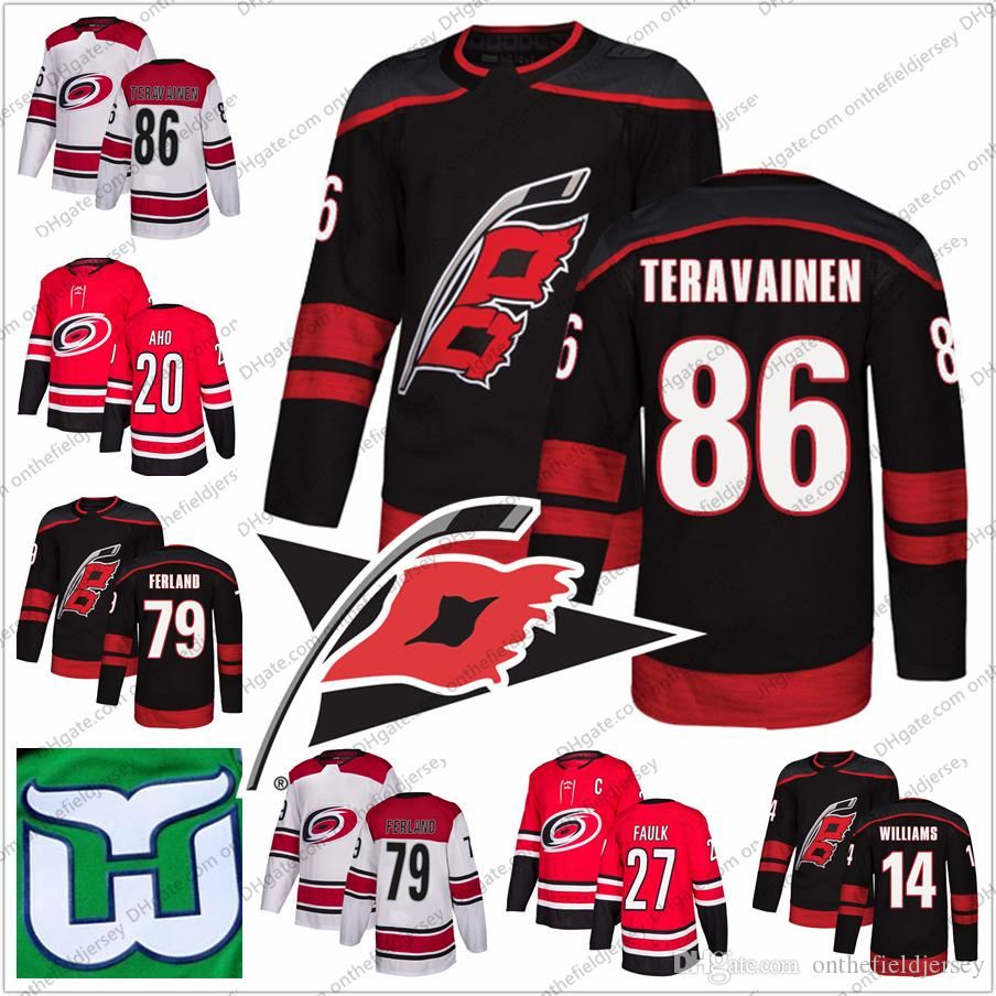 9d7e51148 2019 Carolina Hurrican Hartford Whalers  86 Teuvo Teravainen 79 Micheal  Ferland 12 Eric Staal 9 Gordie Howe Stitched Hockey Jersey S 3XL From ...