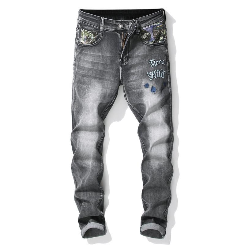 077f05eb6 Compre 2019 Bordado Pantalones Rotos De Los Hombres Retro Elasticidad  Delgada Moda Streetwear Personalidad De Calidad Cómodo Pantalones De  Mezclilla ...