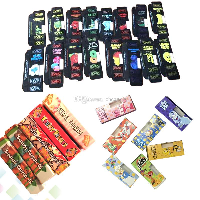 Dank Vapes Exotic Carts Cereal Carts Packaging Cartridges All Flavors Full  Gram Paper Package Box for Thick Oil Atomizer