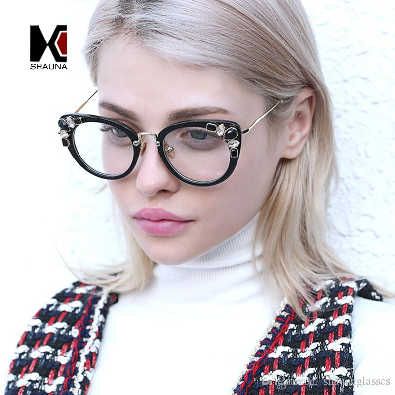 00bfd3269eb42 2019 SHAUNA Luxury Crystal Decoration Brand Designer Trending Cat Eye  Eyeglasses Frame Women Pink Purple Glasses UV400 From Shaunaglasses