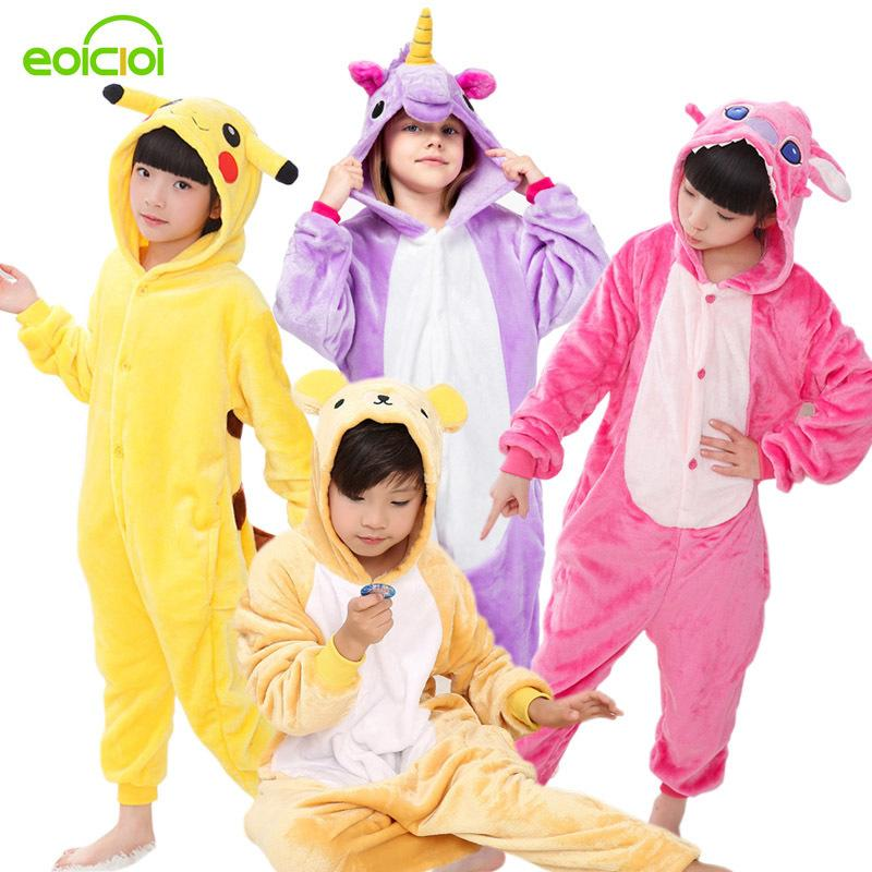 6eb7d44f0044f2 Crianças Pijama Do Bebê Das Meninas Dos Meninos Unicórnio Panda Pikachu  Totoro Porco Crianças Pijamas Set Flanela Ponto Animal Pijama Onesies ...