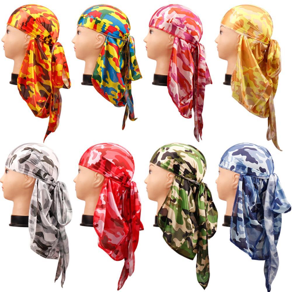 Compre Sombreros   Gorras Camo Durag Bandanas Sombreros Para Mujeres  Hombres Cola Larga Pirata Sombrero Olas Doo Du Rag Turbante Banda Cabeza  Cubierta ... fb414145180