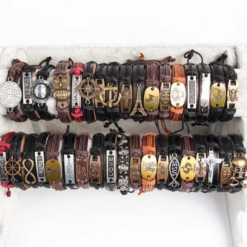 Clever Armband Leder Schmuck Armbänder Damen Herren Modeschmuck Armreif Surferarmband Echtschmuck Ringe