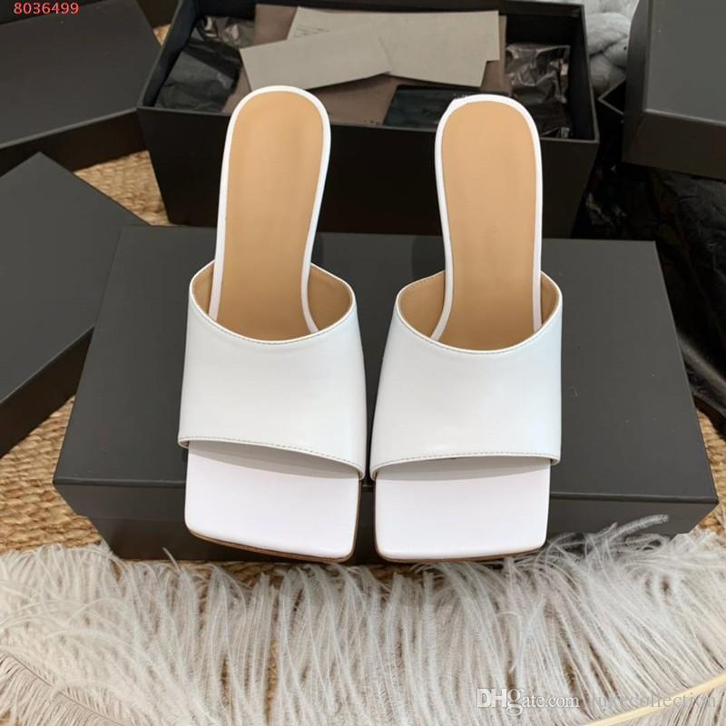 Latest leather slippers Matte leather women shoes Square - mouthed, open-toed women high heel slippers Heel-height 10 cm