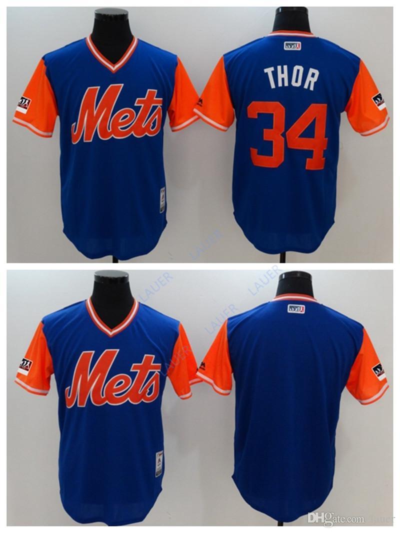 online retailer a4559 ee771 New York Men Mets Jersey 34 Thor Stitched Nickname Baseball Jerseys