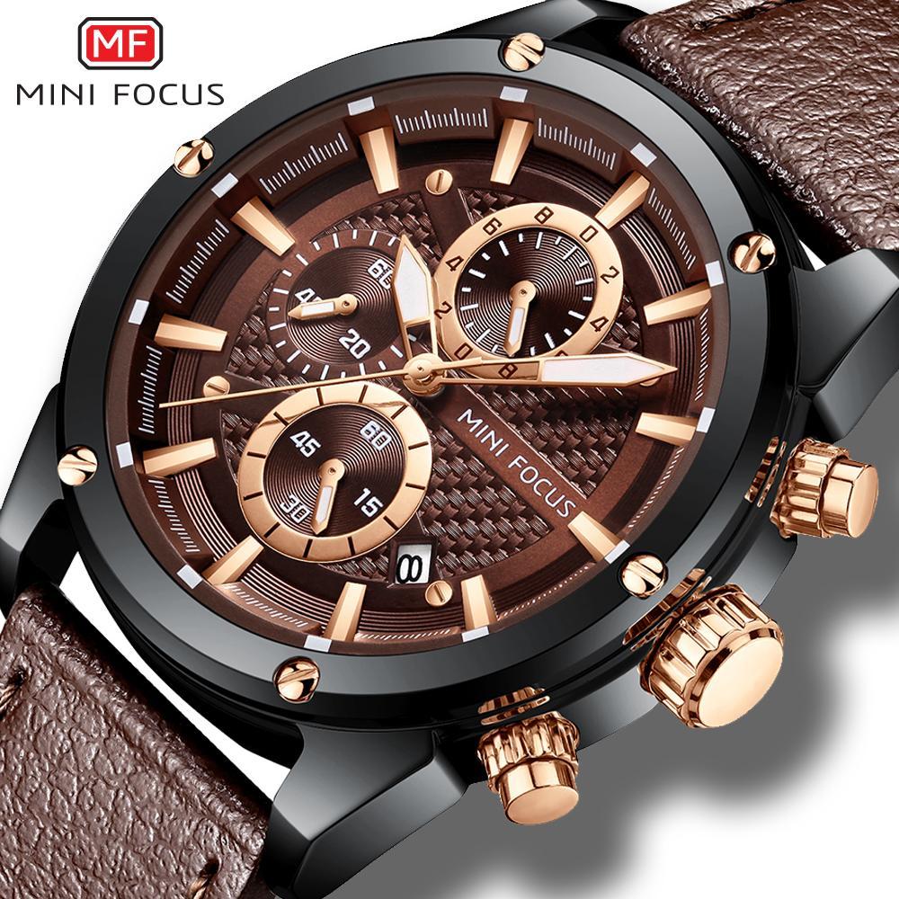 7bed18483721 Compre Mini Focus Relojes De Cuarzo Para Hombre De Primeras Marcas De Lujo  Deportivo Reloj De Pulsera Café Cuero Botón Rosa Cronógrafo Reloj Hombres  Montre ...