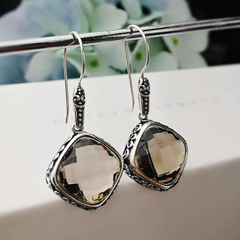 c53088189 Earings Silver Sterling 925 Natural Gemstone Smoky Quartz Faceted ...