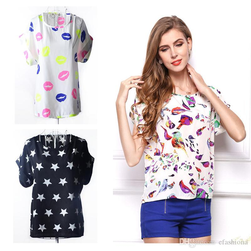 83102a102df 19 Styles Womens Shirts Summer Chiffon Top Dresses Lady Cotton Blend  Material Women Printed Clothes Plus Size Casual Outfit Dresses XZ014  Humorous Shirts ...