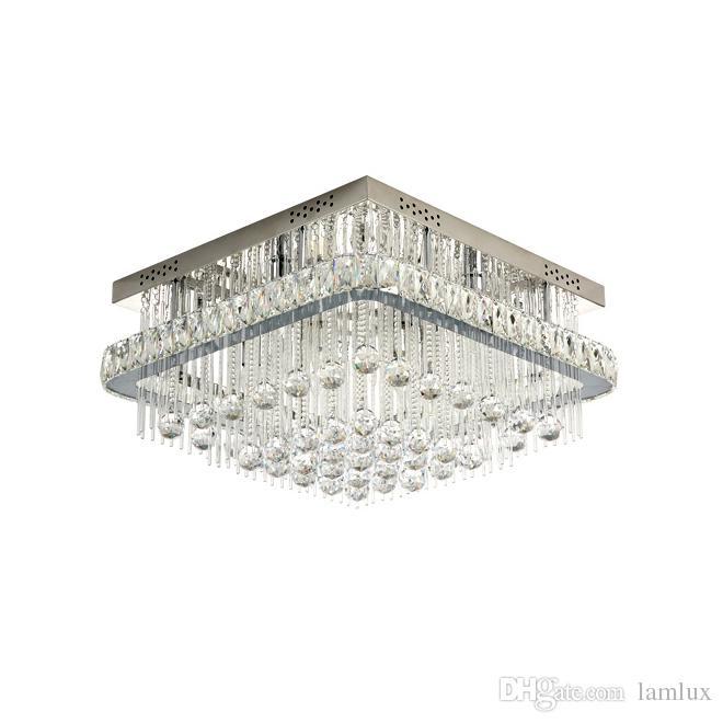 de moderna araña de luces de lámparas plaza del Nueva llegada cromo montaje empotrado de de iluminación para el vestíbulo dimmable lujo techo cristal jLUzVpGSMq