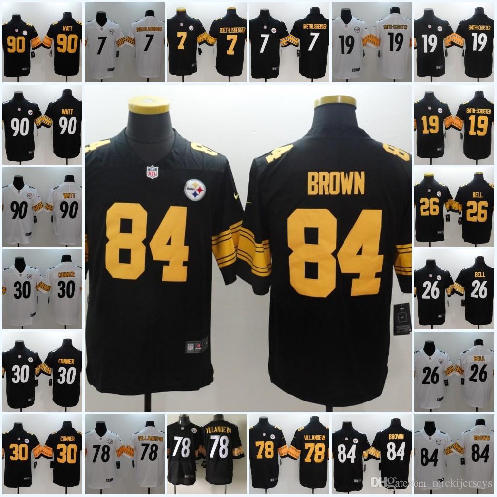 buy online 437b4 0e256 Pittsburgh Steelers Ben Roethlisberger James Conner JuJu Smith-Schuster  Antonio Brown Le'Veon Bell Alejandro Villanueva T. J. Watt Jersey