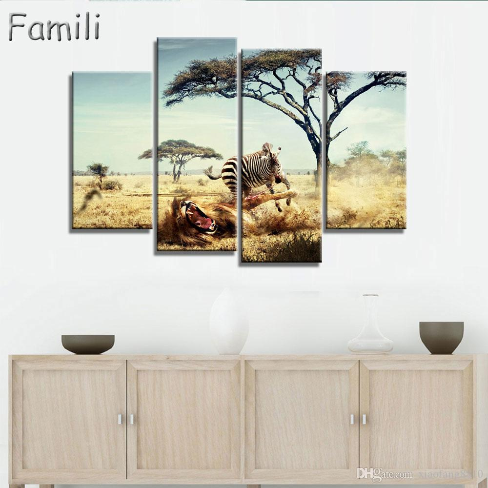 Frameless Oil Painting Zebra Canvas Print Animal Wall Painting Home Decor Canvas Painting for Living Room Wall Art Gift 4 Pieces