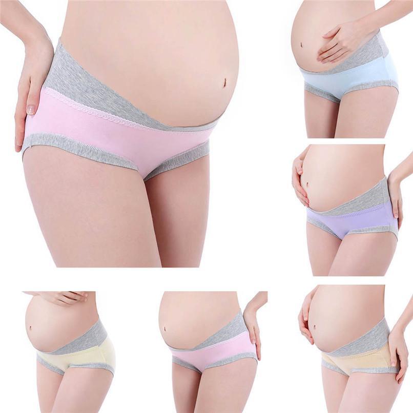 31de638f2 6 Color Embarazo Ropa de maternidad Algodón Mujeres Embarazadas cintura  baja Ropa interior Bragas Ropa suave sin costuras Ropa interior Ropa JY03