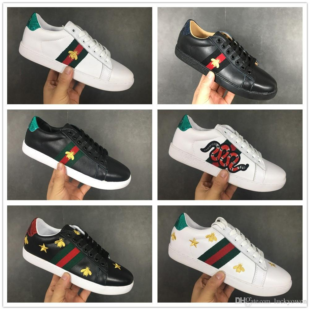 GUCCI Discount Designer Hommes Femmes Baskets Casual Chaussures Baskets En Cuir Baskets Ace Bee Stripes Chaussure Marche Sportifs Baskets Drop Shipping